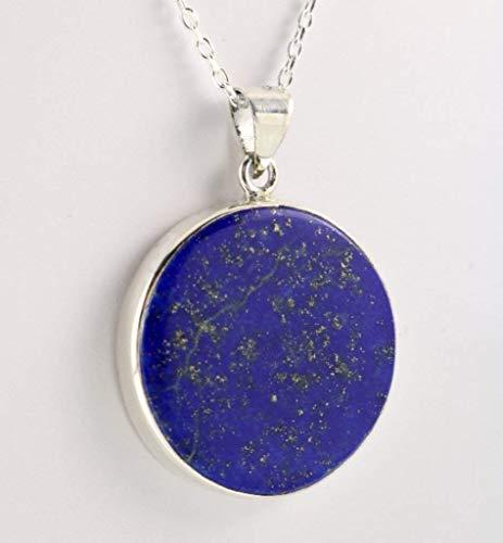 Sterling Silver Genuine Round Dark Blue Lapis Lazuli Medallion Handmade Pendant 18+2'' Chain (Diameter 0.85-1'')