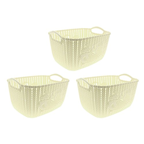 (Saim Storage Basket Bins Plastic Knitted Household Laundry Bathroom Clothes Organizer Container Box with Handles, 3-Piece Set, Beige)