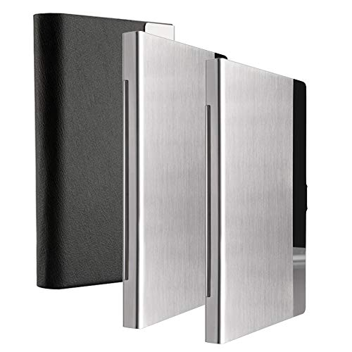 KISSWILL Business Card Holder, 3 Pack Black Leather Business Card Case with Magnetic Shut and Metal Business Card Holder for Men and Women
