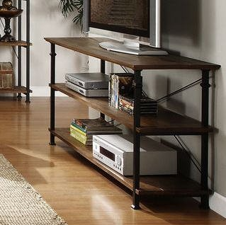 TRIBECCA HOME Myra Vintage Industrial Brown Wood – Iron TV Stand with 2 Shelves for DVD Players and Books