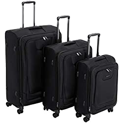 AmazonBasics Premium Expandable Softside Spinner Luggage With TSA Lock 3-Piece Set - 21/25/29-Inch, Black