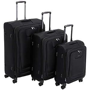 AmazonBasics 3 Piece Expandable Softside Spinner Luggage Suitcase With TSA Lock And Wheels Set - Black