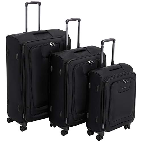AmazonBasics 3 Piece Expandable Softside Spinner Luggage Suitcase With TSA Lock And Wheels Set - Black