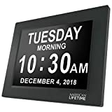 Large Digital Day Clock With 5 Alarm Options and Battery Backup, Black