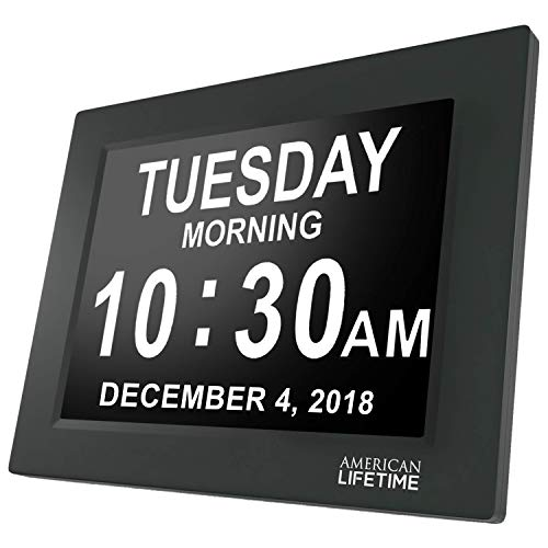 [Newest Version] American Lifetime Day Clock - Extra Large Impaired Vision Digital Clock with Battery Backup & 5 Alarm Options (Black)