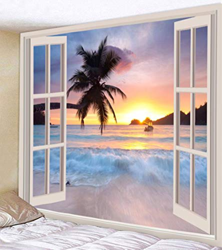(UHUSE Tapestry Wall Hanging, Beach Surf Palm Trees Sunset View Balcony White Wooden Windows Summer Tropical, Living Room Bedroom Dorm Decor)