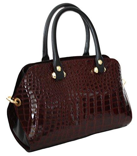 9d32b86b3b0a9 ... Sa-Lucca italienische Handtasche Damentasche Henkeltasche echt Leder Tasche  Lack bordeaux ...