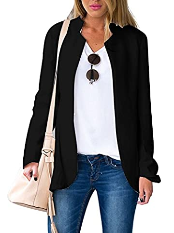Choies Women's Fashion Casual Long Sleeve Slim Office Blazer Jacket with Stand Collar XL (Office Coat)