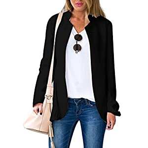 Choies Women's Fashion Casual Long Sleeve Slim Office Blazer with Stand Collar 23