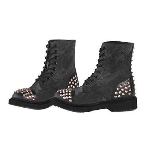 Gia Mia Girl's Rock Star Studded Hip Hop Dance Costume Recital Performance Combat Boot Shoe