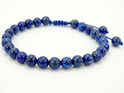 jennysun2010 Handmade 6mm Adjustable Mixed Natural Lapis Lazuli Gemstone Round Beads Bracelet Healing Reiki Chakra 1 Piece 4.5