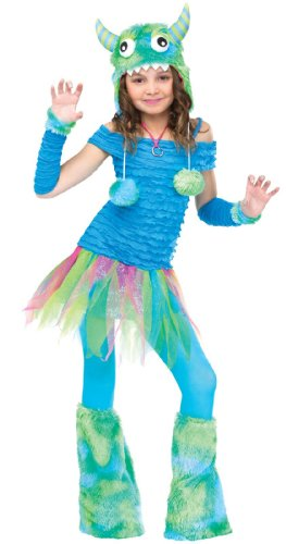 Fun World girls Big Girls' Blue Beastie Monster Costume Medium (8-10) (Monster Costume Girls)