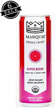 Marquis Organic Energy Drink Super Berry Flavor (12oz Can, 6-Pack), Healthy Power Drink w/ Caffeine, All-Natural Ingredients; Non-GMO, Sugar-Free, Zero-Calorie Carbonated Beverage