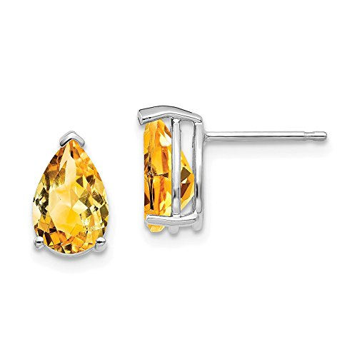 Solid 14k White Gold 9x6mm Pear Simulated Citrine Earrings