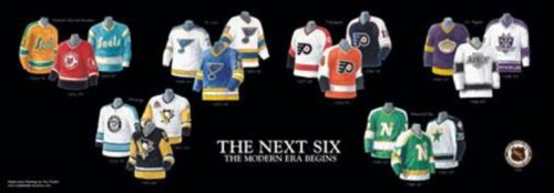 - Framed and Matted History NHL The Next Six Franchise Jerseys Print