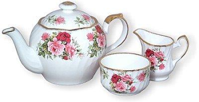 Summertime Rose Bone China - Summertime Rose Bone China English Teapot Cream & Sugar Set