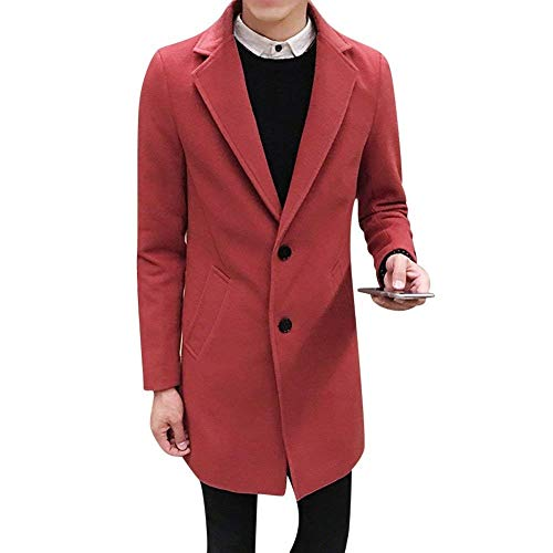 Colors Overcoat Solid Slim Coat Coat Huixin Winter Fashion Burgunderrot Trench Elegant Long Business Men's Lapel Coat Apparel Long Sleeve Jacket Outwear C7qOP