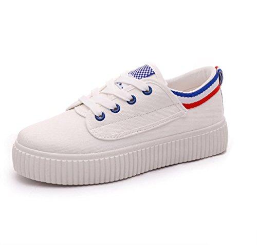 Atmungsaktiv Schuhe VECJUNIA Canvas Blau Schuhe Casual Trainer Damen q1qOa6pS