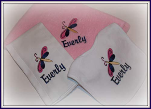(Baby girl shower gift set Dragonfly personalized bib burp cloth blanket)