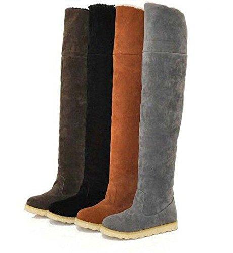 Gli Al Punta Donna Naughtyangel Alla Nere Rotonda Snow In Camoscio Winter Stivali Moda Caldo Da Scarpe Sopra Boots Ginocchio wZgwq
