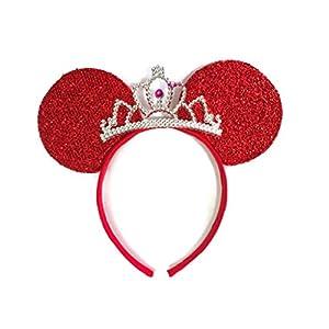 MeeTHan Mickey Mouse Ears Headband Minnie Mouse ears Tiara headbands : M6 (Red)