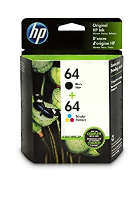 HP 64 Black & Tri-color Original Ink Cartridges, 2 Cartridges (X4D92AN)