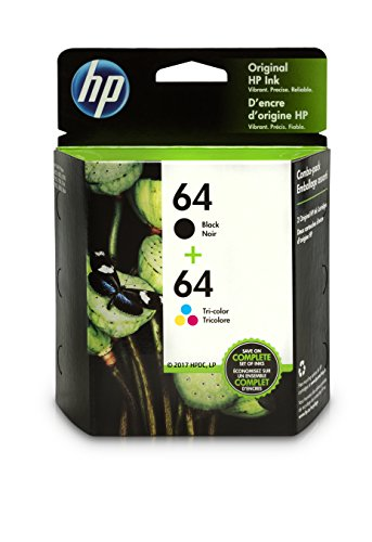 Office Products : HP 64 Black & Tri-Color Original Ink Cartridges, 2 Cartridges (N9J90AN, N9J89AN) for HP Envy Photo 6252 6255 6258 7155 7158 7164 7855 7858 7864 HP Envy 5542