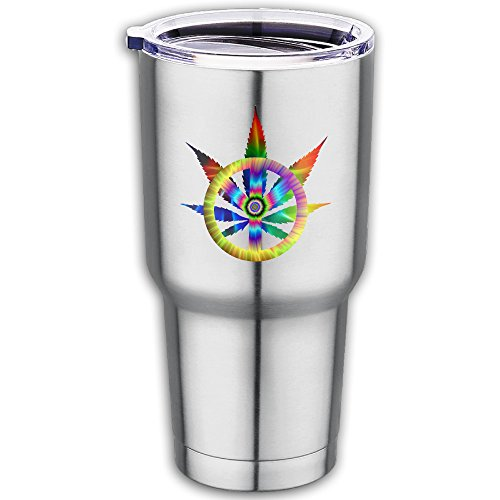 Taiji Coffee Mug (Cannabis Tie-Dye Peace Sign Stainless Stee Travel Coffee Mug-Fits Car Cup Holders And Keeps Your Beverage Hot Or Cold)