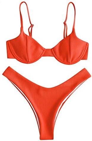 ZAFUL Women's Floral Print Push-up V-Wire Lettuce Bikini Set High Cut Spaghetti Straps Underwire PaddedSwimsuit