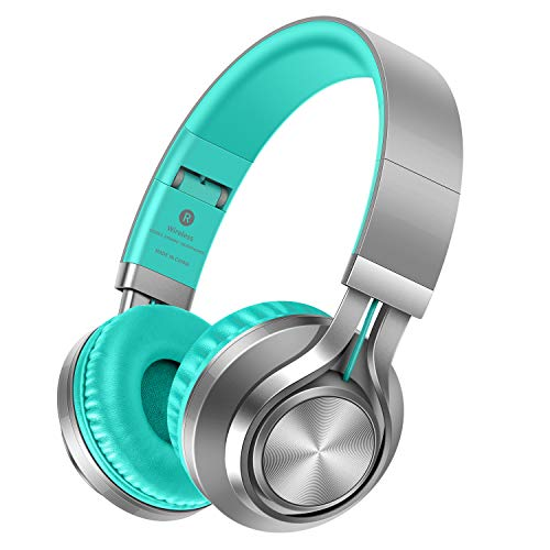 Picun Wireless Headphones 18 Hrs Battery, Romantic LED Breathing Light HiFi Stereo Bluetooth Headphones with HD Mic, Soft Earmuffs, TF Slot & Wired Mode for PC Cellphone TV Girl-Upgraded (Grey Mint)