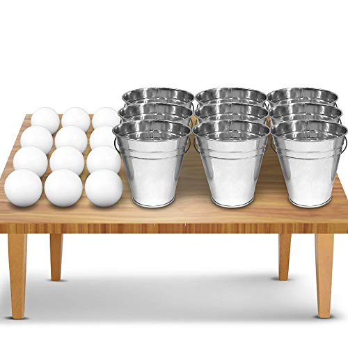 Gamie Bucket Ping Pong Ball Game Includes 9 Metal Buckets, 12 Balls, and 1 Number Sticker Sheet | Fun Party Activity for Kids and Adults/Great Gift Idea for Kids ()