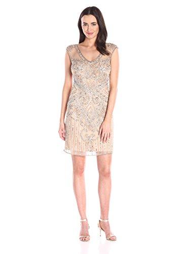 Pisarro Nights Women's Short 3/4 Sleeve Illusion Beaded Dress