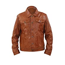 Men's Trucker Slim Fit Casual Tan Leather Shirt Jeans Jacket