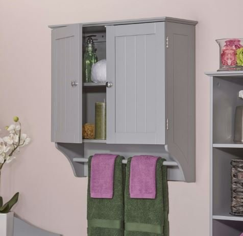 K&A Company Gray 2-Door Bathroom Wall Cabinet Towel Bar toiletries beadboard Storage 2 Shelves Classic