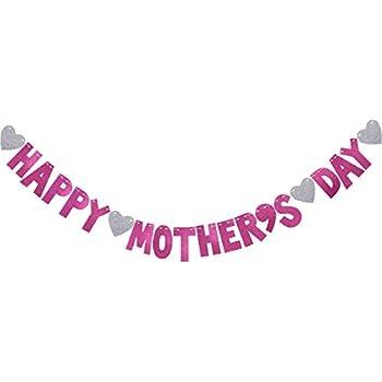 BESTOYARD Mothers Day Banner Happy Bunting Garland Decorations Photo Prop