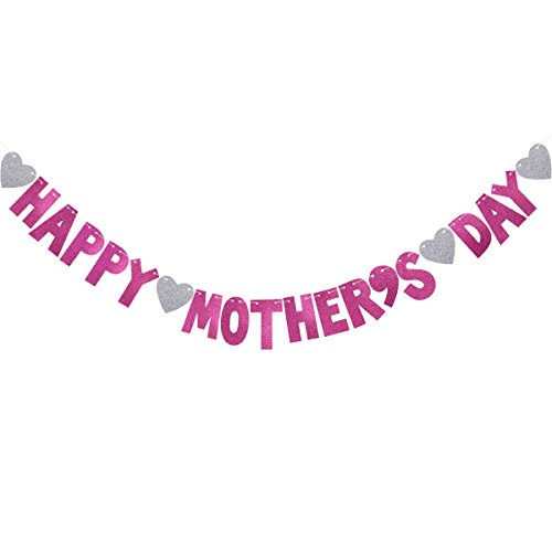 BESTOYARD Mother's Day Banner Happy Mother's Day Bunting Banner Garland Mother's Day Decorations Photo Prop Photo Booth Backdrop