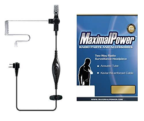 Maximal Power RHF MOT P01 Single Wire Surveillance Earpiece with Waterproof PTT Microphone for Motorola 2 Way Radio 2 Pin Plug Models