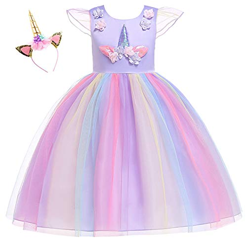 Girls Unicorn Dress Kids Party Costume Girls Dress up Party Dress 2-10