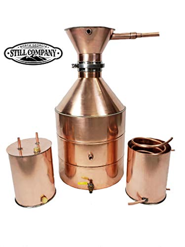 20 Gallon Copper Moonshine Whiskey & Brandy Still with Large Tri Clamp Cap & Ball Valve Drain, 3 Gallon Worm, 3 Gallon Thumper, 1/2 OD Copper Tubing by North Georgia Still Company