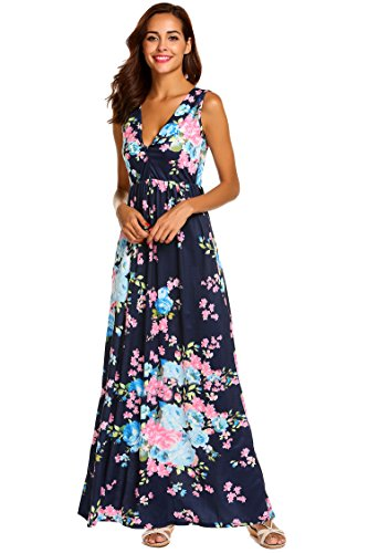 Sherosa Women's Summer Floral Printed V Neck Sleeveless Maxi Casual Dress (L, Navy Blue)