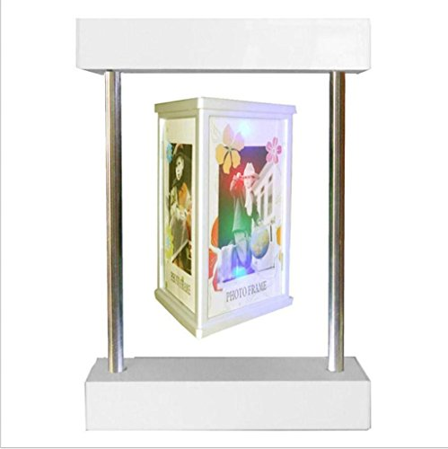 - KKLL E shape Magnetic Levitation DIY White Photo Picture Frame with Colorful Decoration Light Home Decoration Three Sides Rotating to Display Photos