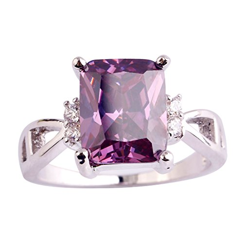 (Psiroy 925 Sterling Silver Created Amethyst Filled Anniversary Ring)