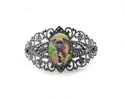 (Custom Pet Photo Ornate Filigree Cuff Bracelet in 6 Finishes – Personalized Picture Keepsake Jewelry)