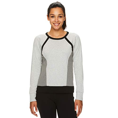 Gaiam Women's Pullover Yoga Sweatshirt - Lightweight Cropped Long Sleeve Athleisure Sweater - Houston Grey Heather, X-Small