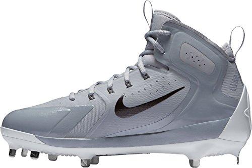 Nike Mens Alpha Huarache Elite Mid Baseball Tacchetti Grigio / Nero