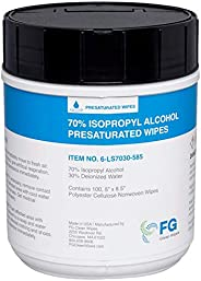 "FG Clean Wipes 70% Isopropyl Alcohol Wipes in Canister - Large 5"" x 8.5"" - 100 Wipes - 6-"