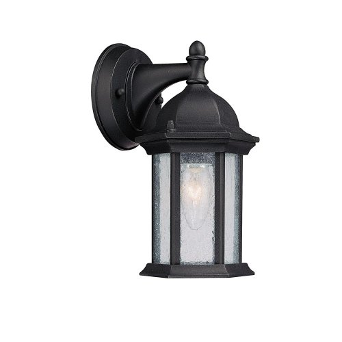 Capital Lighting 9831BK Main Street 1-Light Outdoor Wall Lantern, Black with Seeded Glass (Capital Lighting Main Street)