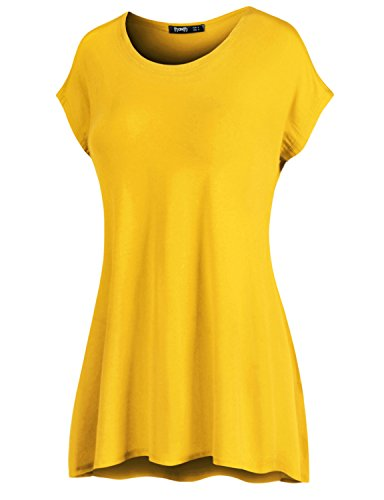 (Thanth Womens Short Kimono Sleeve Loose-fit Long Length Tunic Top Made in USA Yellow Medium)