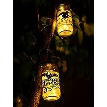 5-Pack Mason Jar Lights Led Amber Yellow Solar Lights Screw On Silver Lids Hanging Light For Garden Yard Christmas Halloween Decor-Jars Not Included