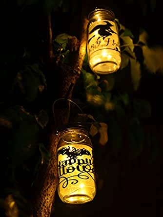 Mason Jar Lights 3 Pack Led Amber Yellow Solar Lights Screw On Silver Lids For Garden Yard Christmas Halloween Decor-Jars Not Included